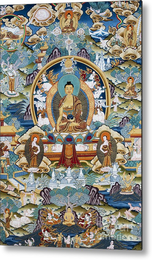 Buddha Metal Print featuring the photograph Golden Medicine Buddha Thangka by Tim Gainey