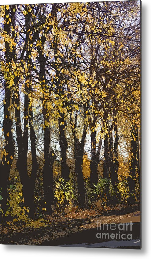 Abstract Metal Print featuring the digital art Golden Trees 1 by Carol Lynch