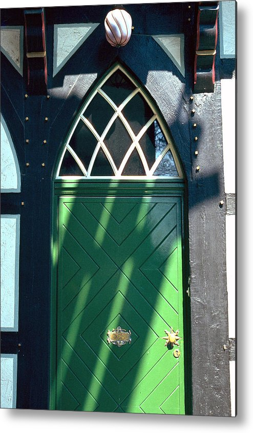 Green Metal Print featuring the photograph Green Door by Flavia Westerwelle