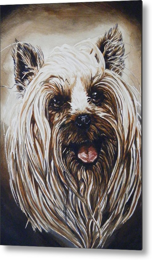 Dog Portraite Metal Print featuring the painting Happy Face by Donald Dean