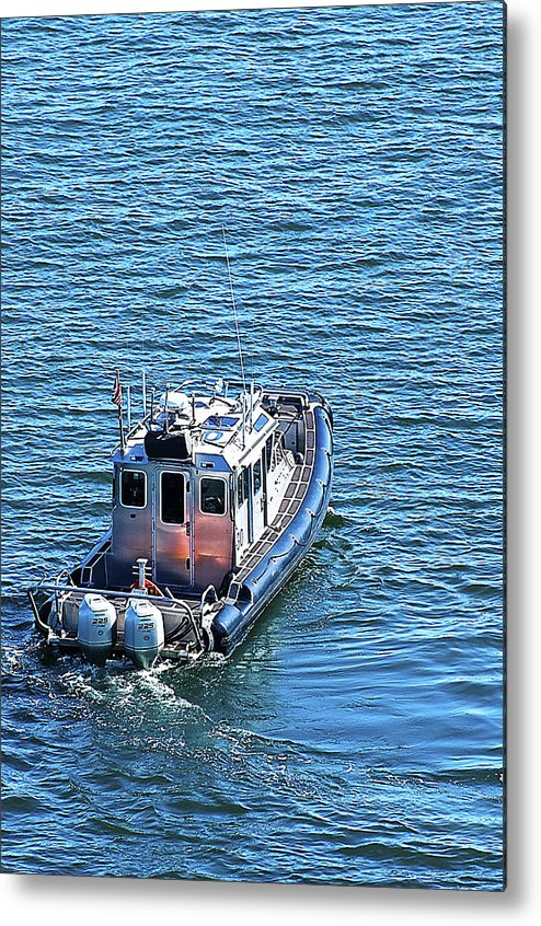 Port Police Metal Print featuring the photograph Harbor Police Patrol Boat by Richard Henne