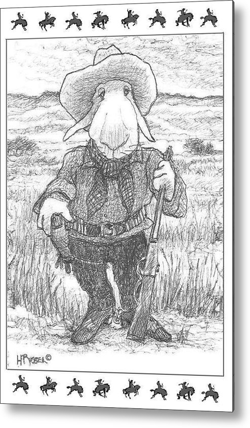 Fine Art Drawing Of A Hare Metal Print featuring the drawing Harecowboy by Herb Russel