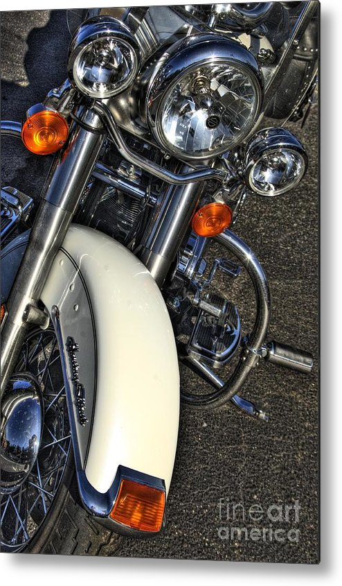 Motorcycle Art Metal Print featuring the photograph Harley Frontal In White by Corky Willis Atlanta Photography