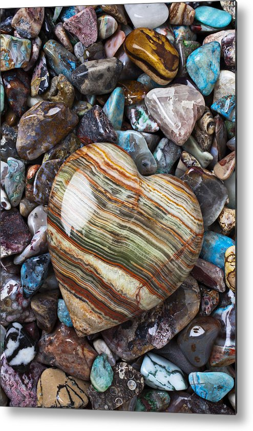 Stone Metal Print featuring the photograph Heart Stone by Garry Gay