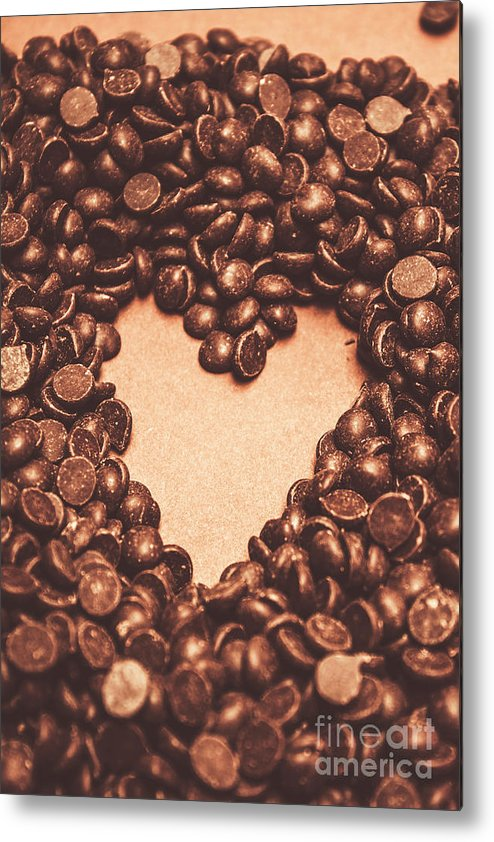 Chocolate Metal Print featuring the photograph Hearts And Chocolate Drops. Valentines Background by Jorgo Photography - Wall Art Gallery