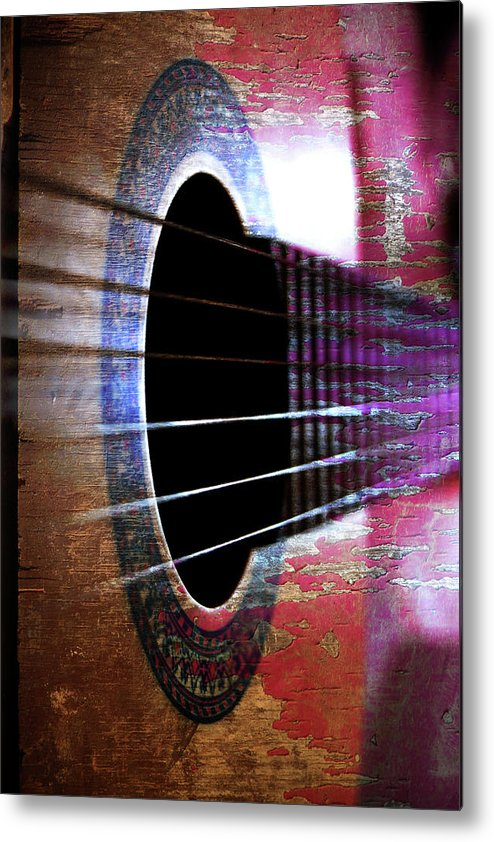 Music Metal Print featuring the photograph Her Old Guitar by Rozalia Toth