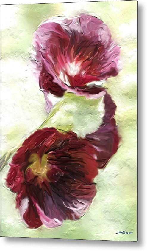 Purple Metal Print featuring the digital art Holly Hock 1d by Henry Mills
