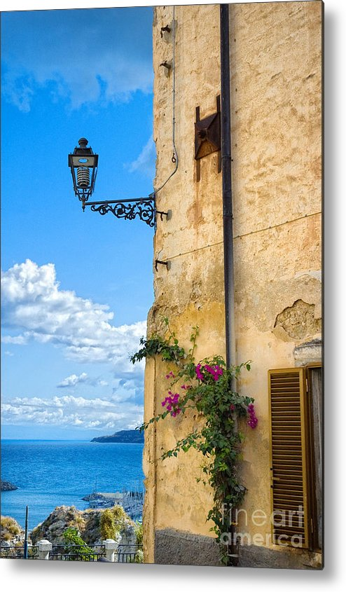 Architecture Metal Print featuring the photograph House With Bougainvillea Street Lamp And Distant Sea by Silvia Ganora