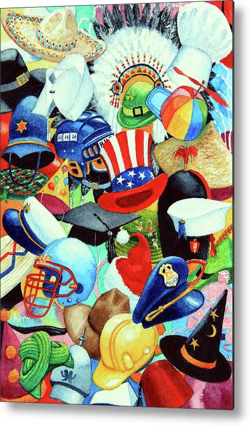 Hundreds Of Hats Art Print Metal Print featuring the painting Hundreds Of Hats by Hanne Lore Koehler