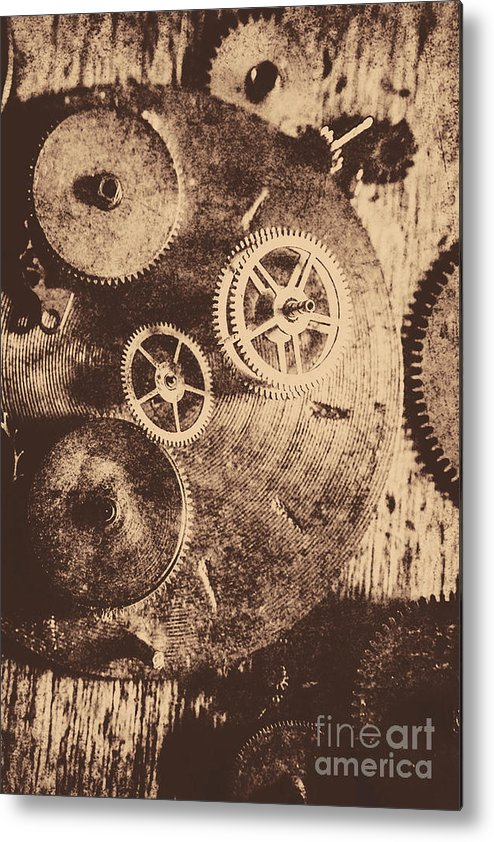 Vintage Metal Print featuring the photograph Industrial Gears by Jorgo Photography - Wall Art Gallery