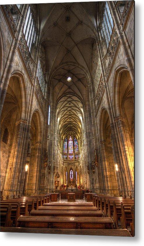 Czech Republic Metal Print featuring the photograph Interior Of Saint Vitus Cathedral by Gabor Pozsgai