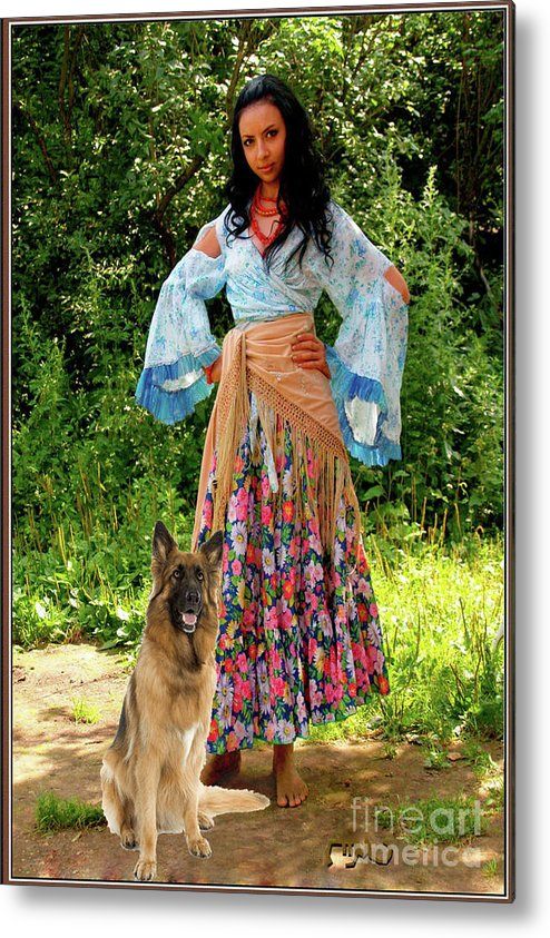 Modern Painting Metal Print featuring the mixed media Jalma With Her Dog Ryzhko by Pemaro