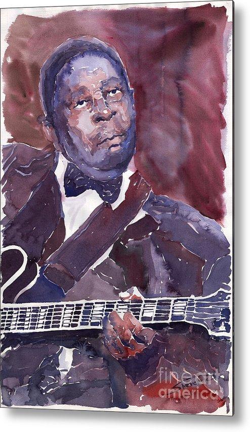 Jazz Bbking Guitarist Blues Portret Figurative Music Metal Print featuring the painting Jazz B B King by Yuriy Shevchuk