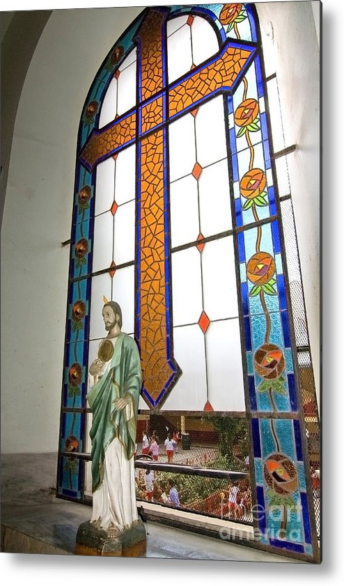 Jesus Metal Print featuring the photograph Jesus In The Church Window And School Girls In The Background by Sven Brogren
