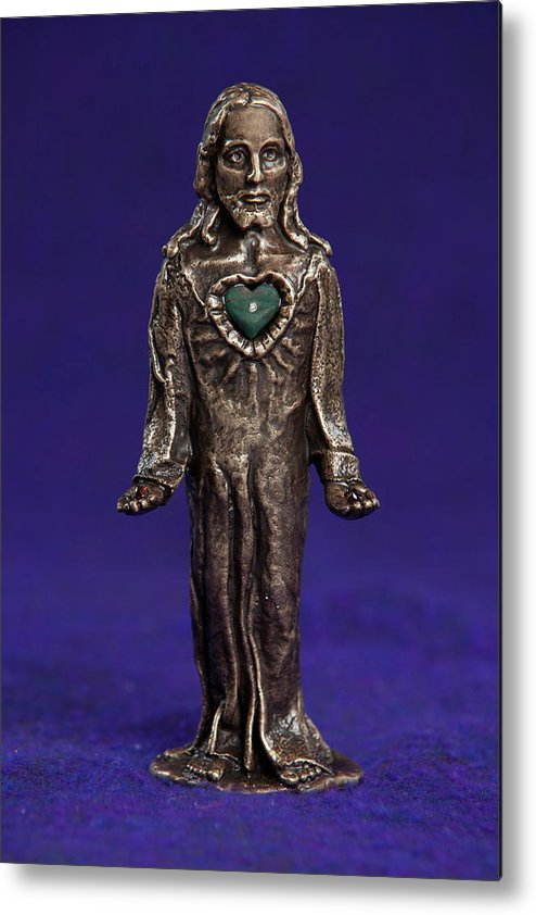 Jesus Metal Print featuring the sculpture Jesus Statue With Sacred Heart by Jasmina Agrillo Scherr