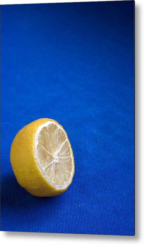 Blue Metal Print featuring the photograph Just A Lemon by Steve Outram