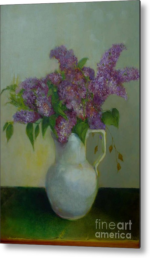 Greeting Card Metal Print featuring the painting Just Lilacs         Copyrighted by Kathleen Hoekstra