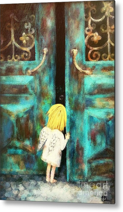Angel Metal Print featuring the painting Knocking On Heaven's Door by Tina LeCour