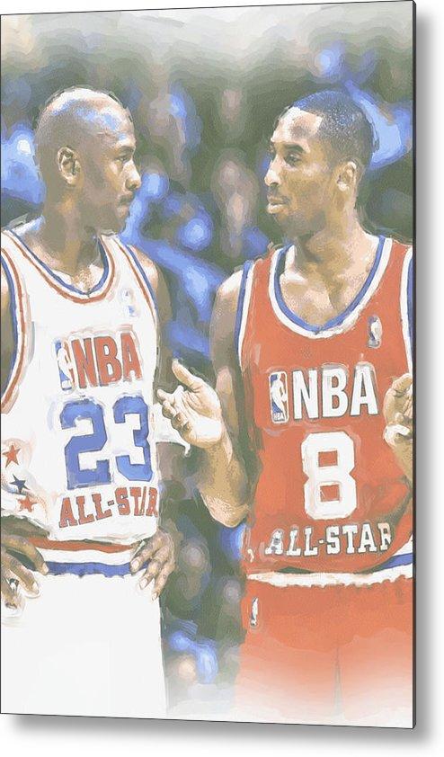 Kobe Bryant Metal Print featuring the photograph Kobe Bryant Michael Jordan by Joe Hamilton