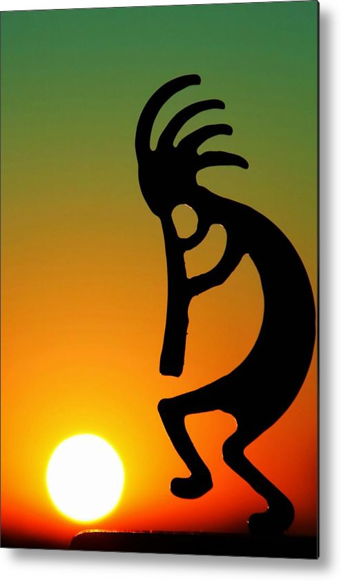 Sunrise Metal Print featuring the photograph Kokopelli by Mitch Cat