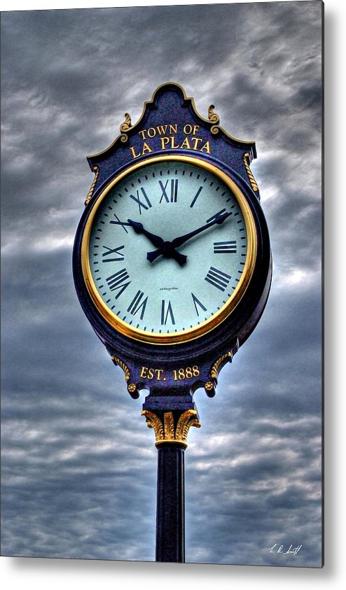 Clock Metal Print featuring the photograph La Plata Clock by E R Smith