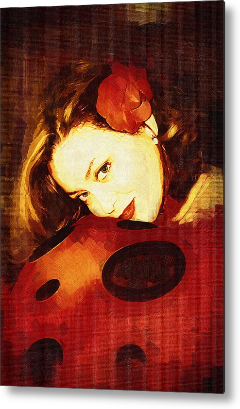 Portrait Metal Print featuring the digital art Lady Bug by Holly Ethan