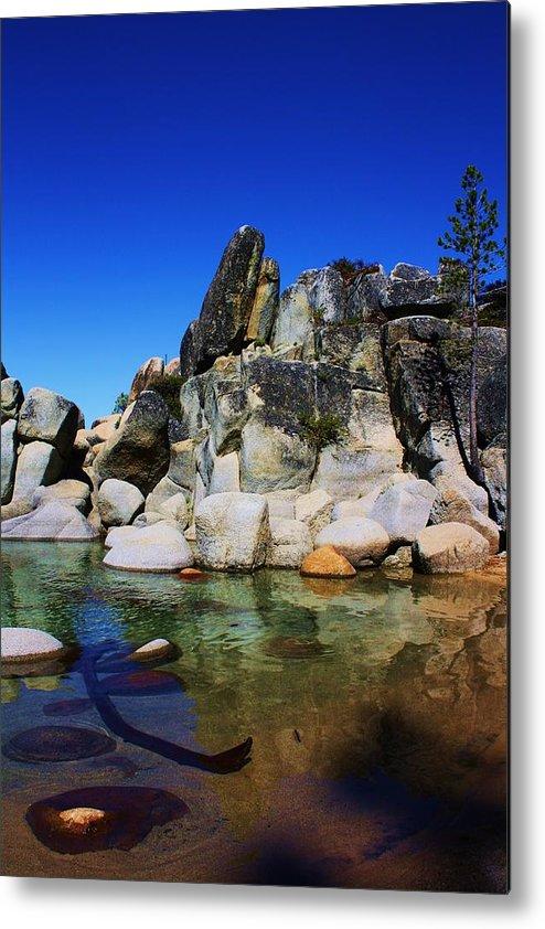 Lake Tahoe Rocks Metal Print featuring the photograph Lake Tahoe- Pyramid Of Rocks by Russell Barton