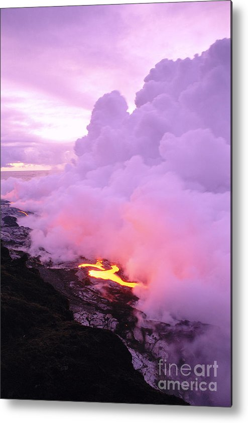 A'a Metal Print featuring the photograph Lava Enters Ocean by Peter French - Printscapes