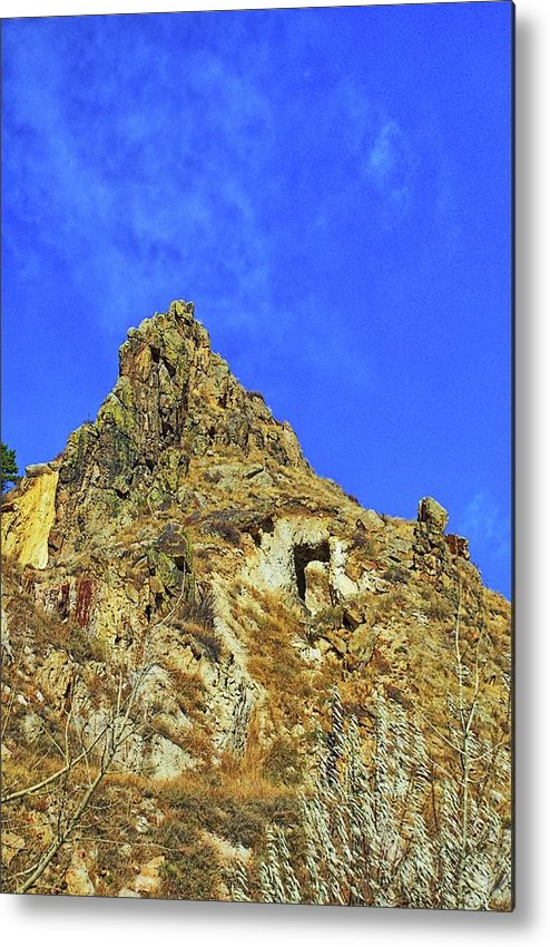 Mountain Metal Print featuring the photograph Leydon Hill With Cave by Timothy Ruf