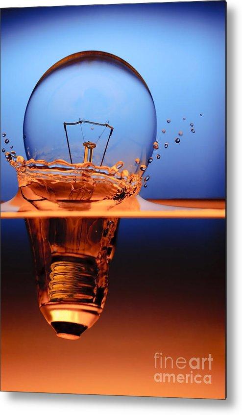 Alternative Metal Print featuring the photograph Light Bulb And Splash Water by Setsiri Silapasuwanchai