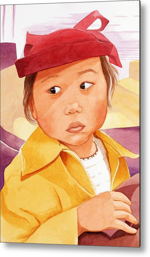 Little Japanese Girl In Red Hat Metal Print featuring the painting Little Girl In Red Hat by Judy Swerlick