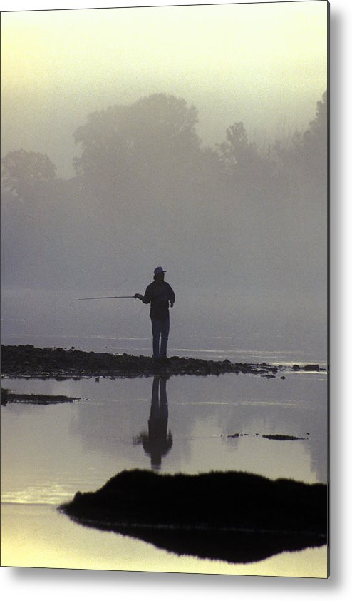 Early Metal Print featuring the photograph Lone Fisherman by Carl Purcell