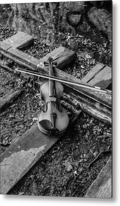 Violin Train Tracks Metal Print featuring the photograph Lost Violin by Gerald Kloss