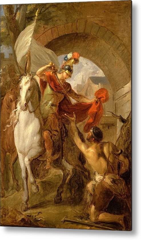 Man Metal Print featuring the painting Louis Galloche - A Scene From The Life Of St. Martin by Louis Galloche