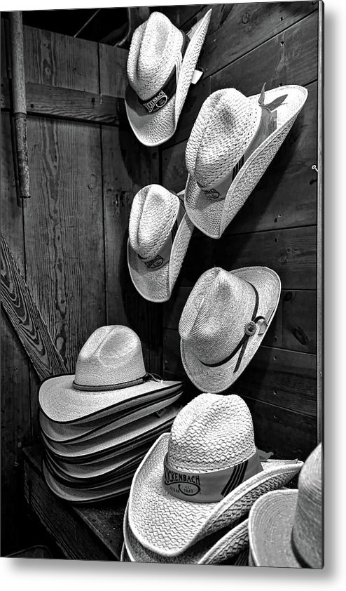 Cowboy Hat Metal Print featuring the photograph Luckenbach Hats Black And White by Judy Vincent