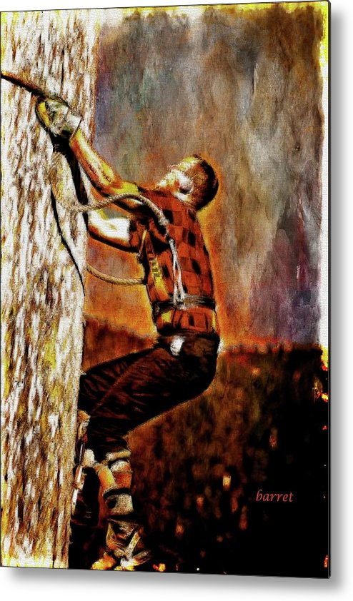 Lumber Metal Print featuring the painting Lumberjack by Don Barrett