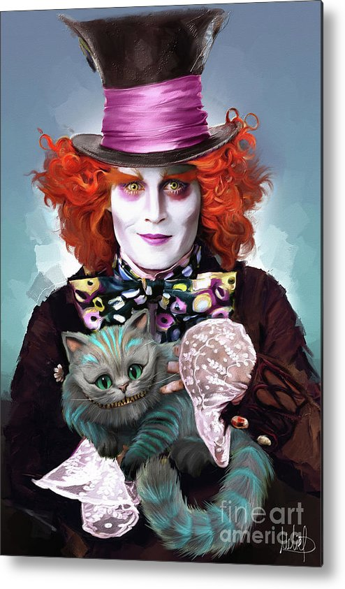 Mad Hatter And Cheshire Cat Metal Print