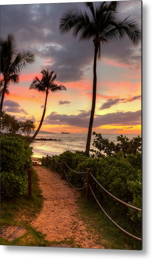 Sunset Metal Print featuring the photograph Makena Sunset Path by Susan Rissi Tregoning