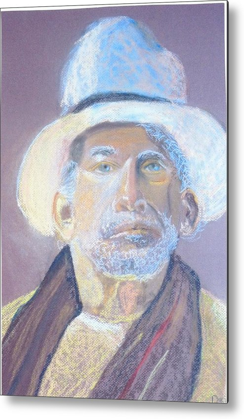 Portrait Metal Print featuring the painting Man In A Straw Hat by Deena Greenberg