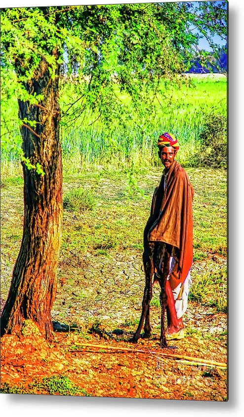 India Locals Metal Print featuring the photograph Man In Shade by Rick Bragan