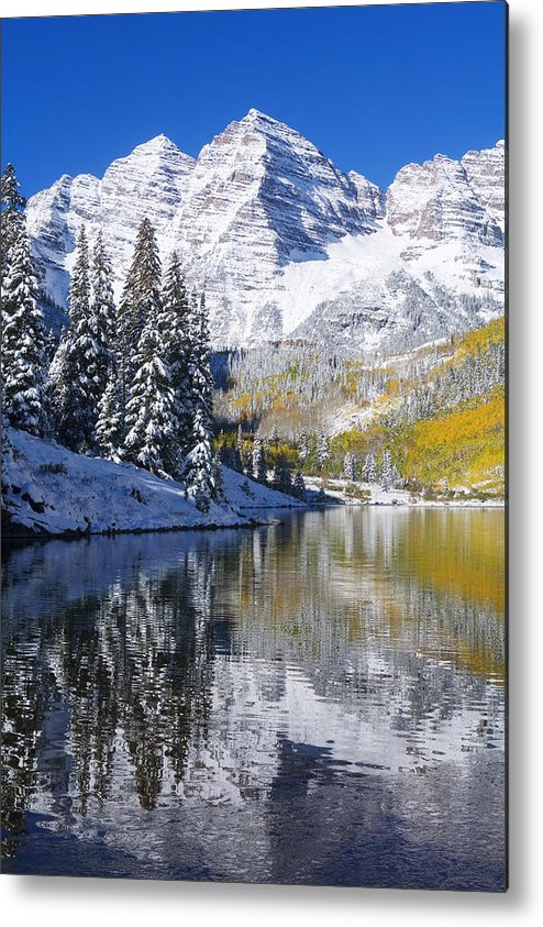 Aspen Metal Print featuring the photograph Maroon Lake And Bells 2 by Ron Dahlquist - Printscapes