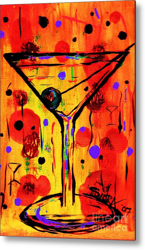 Martini Metal Print featuring the painting Martini Twentyfive Of Sidzart Pop Art Collection by Sidra Myers