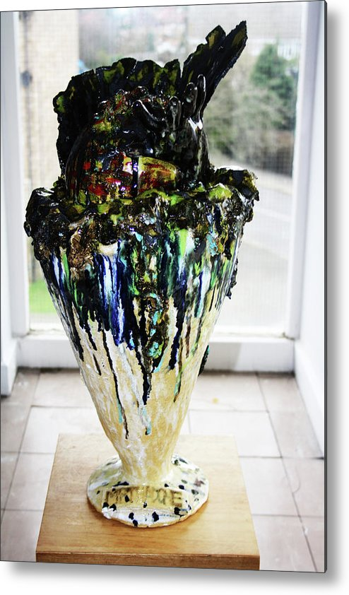 Jesus Metal Print featuring the sculpture Methadone Explosion View One by Gloria Ssali
