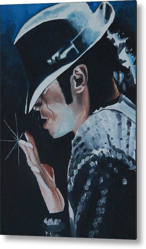 Michael Jackson Portrait Metal Print featuring the painting Michael Jackson by Mikayla Ziegler