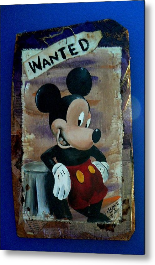 Disney Metal Print featuring the painting Mickey by Latonja Davis-Benson