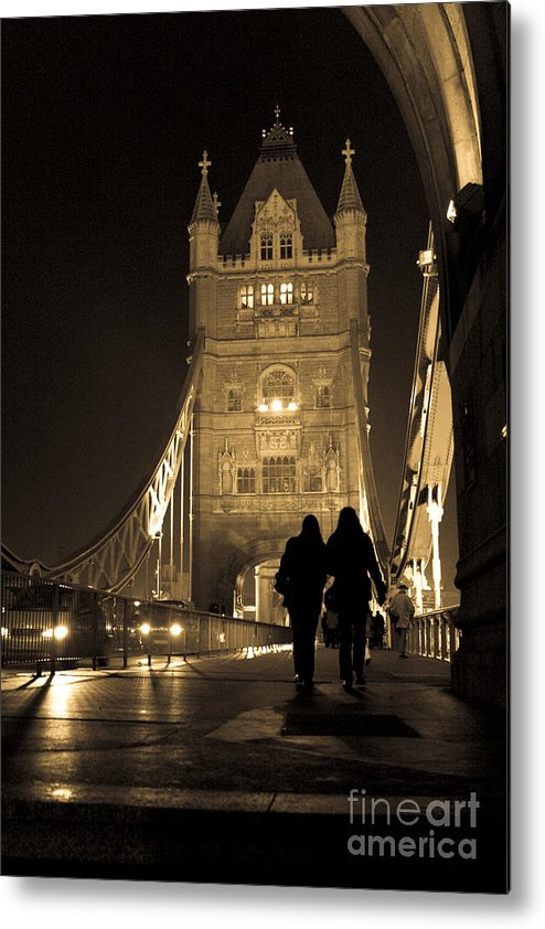 London Metal Print featuring the photograph Midnight Stroll Over The Bridge by Joshua Francia
