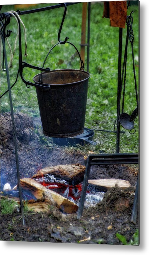 Camp Fire Metal Print featuring the photograph Military Revolutionary War Campfire Vertical by Thomas Woolworth