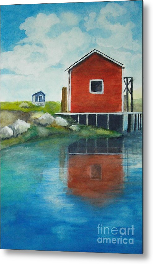 Landscape Metal Print featuring the painting Molly by Vi Mosley