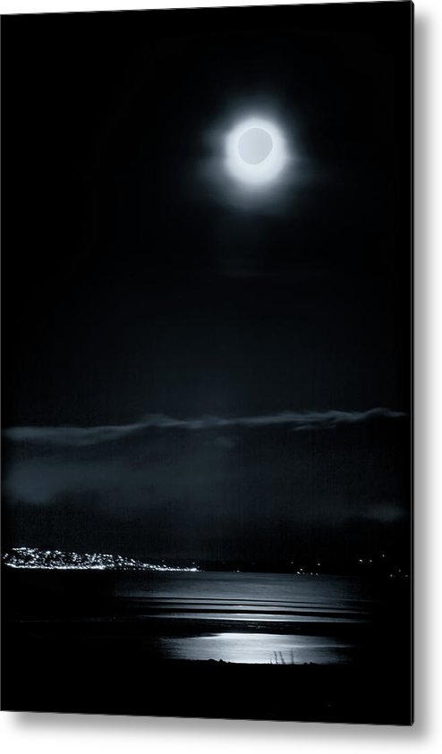 Moon Metal Print featuring the photograph Moonlit Bay by Paul Kloschinsky