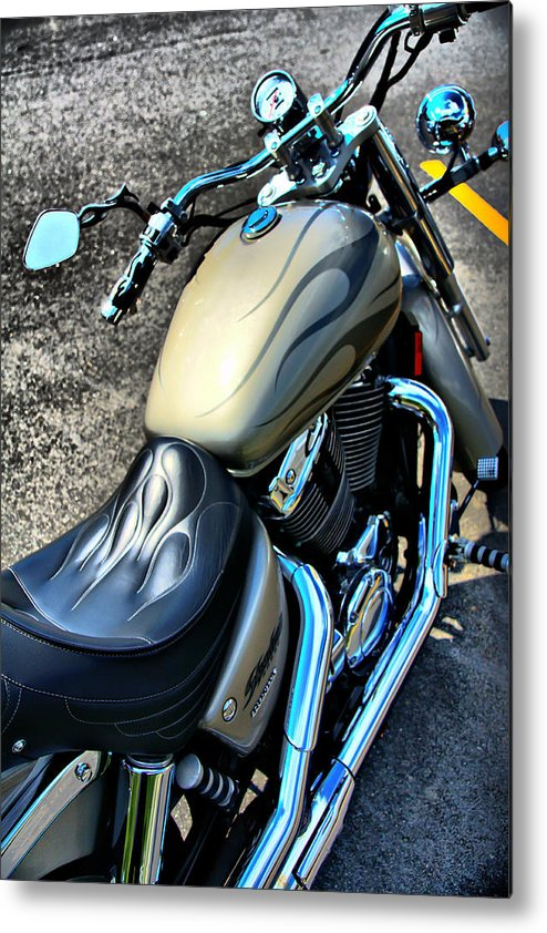 Motorcycle Metal Print featuring the photograph Motorcycle Shadow Sabre 2 by Edward Myers